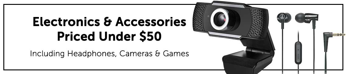 Electronics and Accessories Priced Under $50 Including Headphones, Cameras & Games