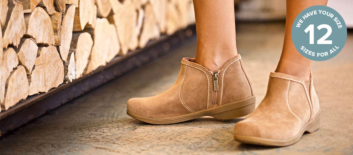 748-719 Revitalign Monrovia Suede Leather Side Zip Ankle Boots
