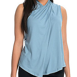 747-600 Heather's Closet Knit Sleeveless Mock Neck Keyhole Back Draped Top