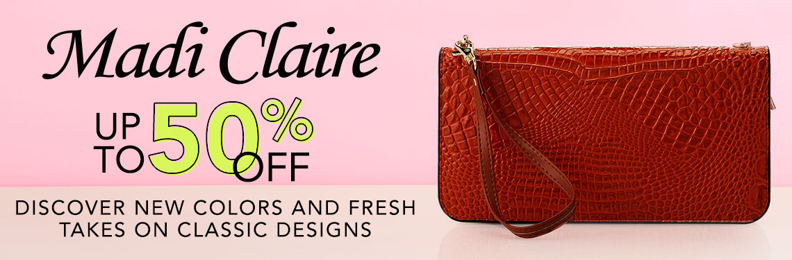 Madi Claire Up to 50% OFF Discover New Colors and Fresh Takes on Classic Designs at ShopHQ 44-905 Madi Claire Joanne Croco Embossed Leather 3-in-1 Convertible Clutch w 2 Straps