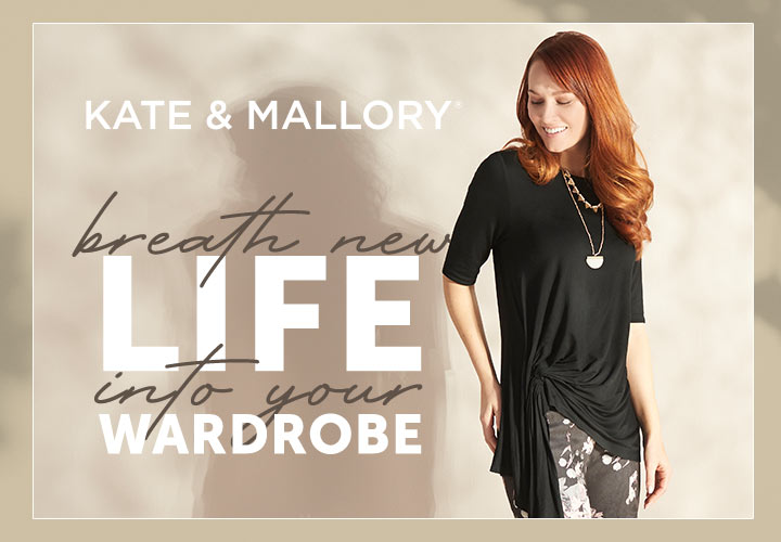 Kate & Mallory Breath New Life Into Your Wardrobe - 730-251 Kate & Mallory® Stretch Knit Elbow Sleeve Uneven Hem Gathered Top