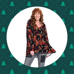 Shirts & Blouses - 741-230 Indigo Thread Co.™ Woven Long Lantern Sleeve Y-Neck Crochet Trimmed Hi-Lo Peasant Top