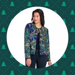 Blazers & Jackets - 744-735 Indigo Moon Woven Sequin & Bead Embellished Long Sleeve Open Front Jacket