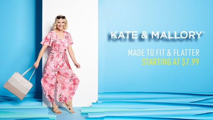 Kate & Mallory Starting at $7.99 Made to Fit & Flatter 746-280 Kate & Mallory® Stretch Knit Flutter Sleeve V-Neck Tie-Waist Wide Leg Jumpsuit