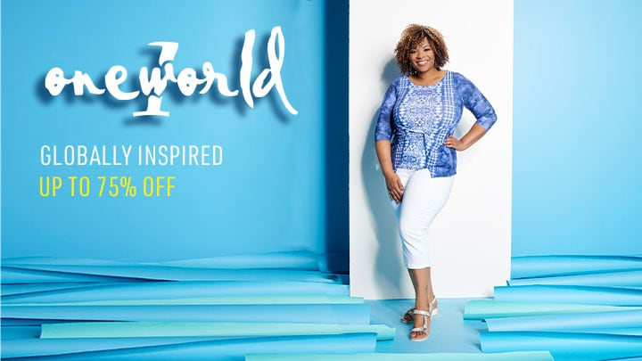 One World Up to 75% OFF Globally Inspired 745-737 One World Printed Knit 34 Sleeve Twisted Front Scoop Neck Top