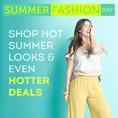Shop Hot Summer Looks & Even Hotter Deals - 746-326 One World Knit Flutter Sleeve Hi-Lo Top & 2-Pocket Pull-on Palazzo Pants Set