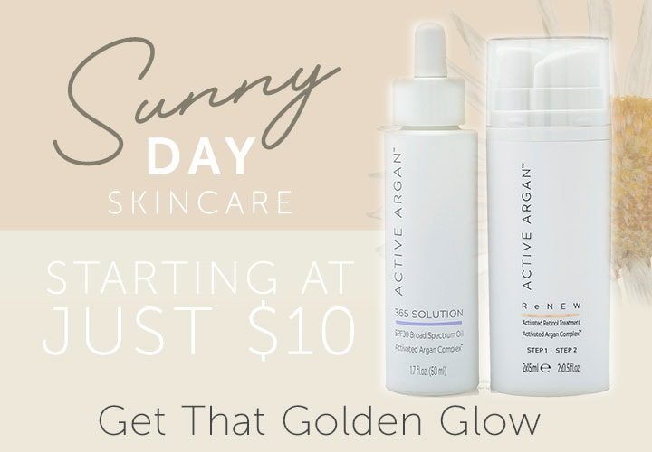 Sunny Day Skincare Starting at Just $10 - 316-104 Active Argan ReNEW Retinol Treatment System & 365 Solution SPF 30 Oil Drops