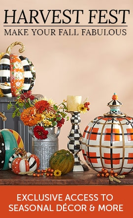 Harvest Festival Event - Make Your Fall Fabulous Exclusive Access to Seasonal Décor & More 490-839 - MacKenzie-Childs Choice of Size Flower Market Patchwork Pumpkin,  478-519 MacKenzie-Childs Courtly Check Hand-Painted Enamelware Candlestick,  490-947 MacKenzie-Childs Choice of Hand-Painted Tartan Spice Pumpkin