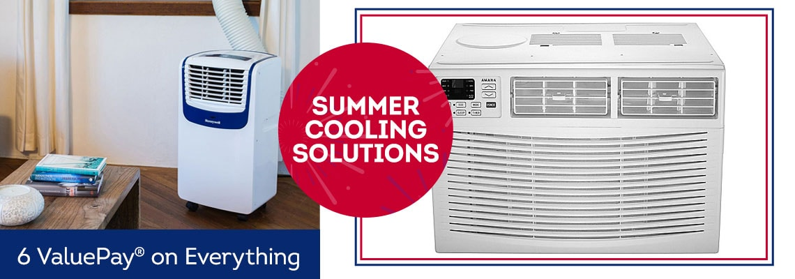 Summer Cooling Solutions  6 ValuePay® 485-736 Amana 115V Window-Mounted AC with Remote Control,  484-128 Honeywell MO Series Choice of BTU Portable Air Conditioner w Remote Control on Everything