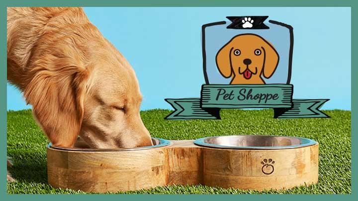 Pet Shoppe 489-576 GF Pet Choice of Size Mango Wood Food & Water Pet Feeder