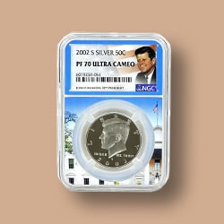 Coin Shoppe Add to Your Collection - 500-100 2002 NGC PF70 Ultra Cameo Silver Kennedy in Whitehouse Picture Core