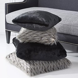 At Home With Jorge Pérez Exclusive Home Décor - 497-967 At Home w Jorge Set of 2 Small Square Gray Three-Tone Faux Fur Pillows