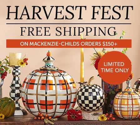 490-839 - MacKenzie-Childs Choice of Size Flower Market Patchwork Pumpkin,  478-519 MacKenzie-Childs Courtly Check Hand-Painted Enamelware Candlestick,  490-947 MacKenzie-Childs Choice of Hand-Painted Tartan Spice Pumpkin