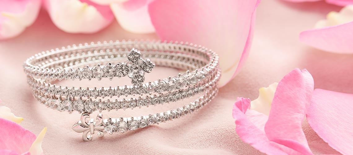 Dallas Prince Jewelry Designs - 187-152 Dallas Prince 15.28ctw White Zircon Coil Bracelet
