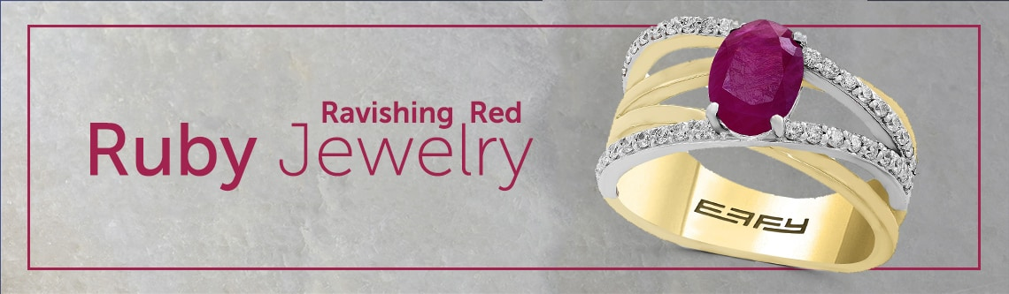 "Ruby Jewelry at ShopHQ | 191-206 EFFY ""Amore"" 14K Two-Tone Gold 1.78ctw Ruby & Diamond Ring – Size 7"