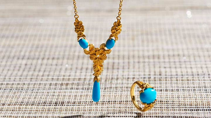 Chinese New Year at ShopHQ - 186-141 Lambert Cheng 24K Gold 12 x 10mm Oval Turquoise Flower Ring, 186-158 Lambert Cheng 24K Gold 18.5 15 x 5mm Turquoise Flower Necklace w 2 Extender