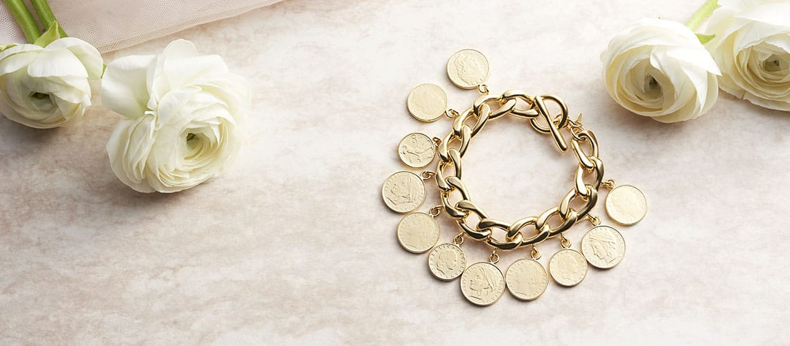 Italian Jewelry - 182-297 Toscana Italiana 18K Gold Embraced™ 7.75 Genuine Lire Coins Curb Link Toggle Bracelet