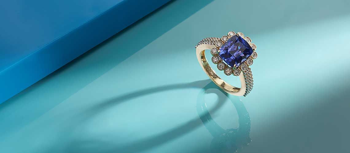182-591 Sonia Bitton Galerie de Bijoux® 14K Gold 4.41ctw Diamond & Tanzanite Cocktail Ring