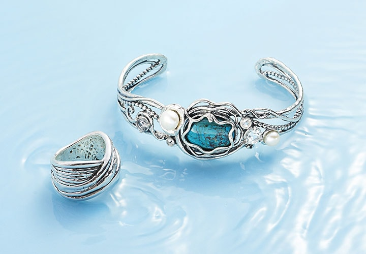 Passage to Israel 182-280 Passage to Israel™ Sterling Silver Turquoise, Cultured Pearl & Gem Cuff Bracelet