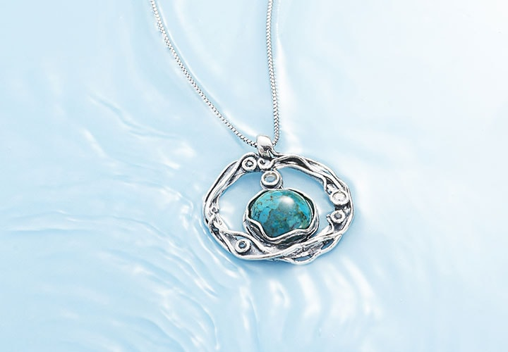Passage to Israel 182-254 Passage to Israel™ Sterling Silver 14mm Turquoise & White Topaz Pendant w 18 Chain