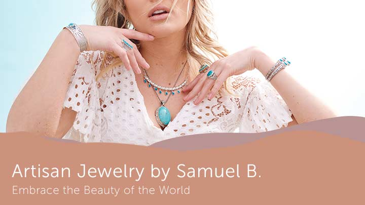 Artisan Jewelry by Samuel B. - Embrace the Beauty of the World - 188-330 Artisan Silver by Samuel B. Campitos Turquoise Cactus Pendant w 18 Popcorn Chain