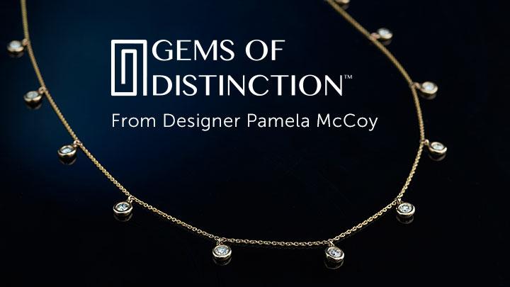 Gems of Distinction From Designer Pamela McCoy at ShopHQ  177-246 Gems of Distinction™ 14K Gold 16 0.95ctw Diamond Charm Station Necklace w 3 Extension