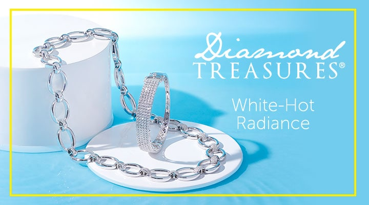 Diamond Treasures White-Hot Radiance - 186-997 Diamond Treasures® Sterling Silver Choice of Length 0.84ctw Diamond Bangle Bracelet, 188-943 Diamond Treasures® Choice of Plating 19.5 1.00ctw Open Link Necklace