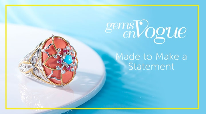 Gems en Vogue Made to Make a Statement - 182-226 Gems en Vogue 20 x 15mm Coral, Sleeping Beauty Turquoise & Gemstone Ring