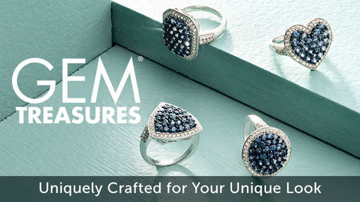 Gem Treasures Uniquely Crafted for Your Unique Look at ShopHQ 185-126 Gem Treasures® Choice of Shape 1.77ctw Ceylon Blue Sapphire & White Zircon Ring