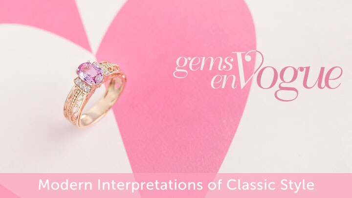 Gems en Vogue Modern Interpretations of Classic Style at ShopHQ 158-136 Gems en Vogue 14K Rose Gold 1.38ctw Pink Sapphire & White Zircon Ring