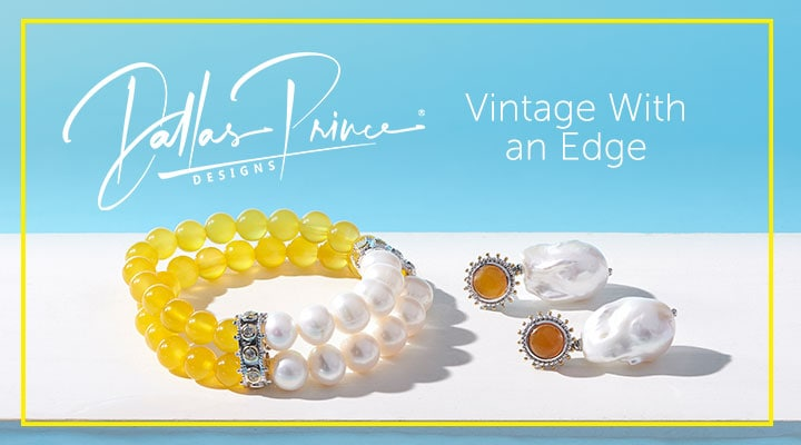 Dallas Prince Designs - 188-456 Dallas Prince 6 or 7 Yellow Agate & Freshwater Cultured Pearl Beaded Bracelet