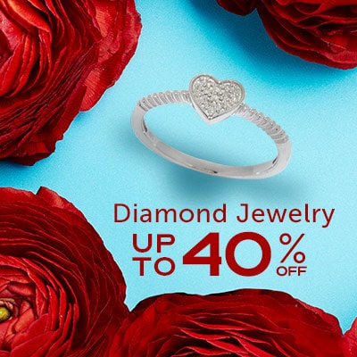 Diamond Jewelry  Up to 40% OFF at ShopHQ 188-966 Diamond Treasures® Sterling Silver 0.05ctw Diamond Heart Stack Ring