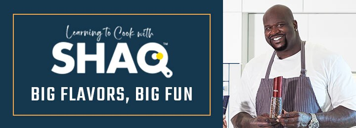 Learning to Cook with Shaq Big Flavors, Big Fun 489-277 SHAQ 22 XL 1650W Smokeless 2-in-1 Indoor Electric Grill & Griddle