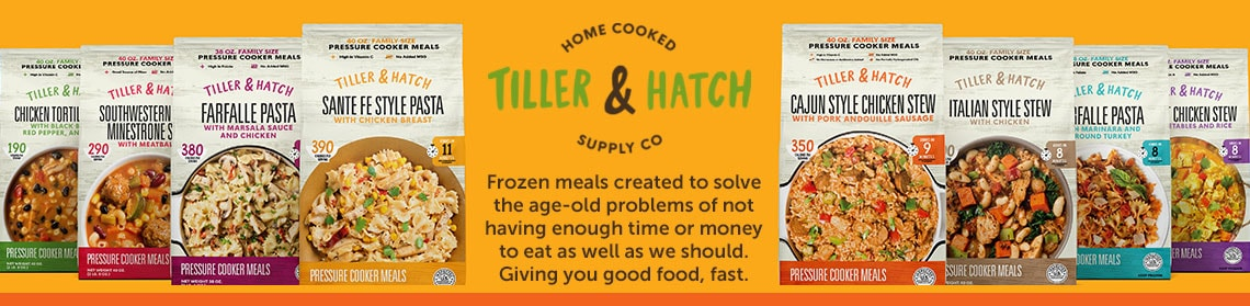 Frozen meals created to solve the age-old problems of not having enough time or money to eat as well as we should. Giving you good food, fast. 491-585 Tiller and Hatch 8 (40 oz) Chef Prepared Pressure Cooker Family Meals