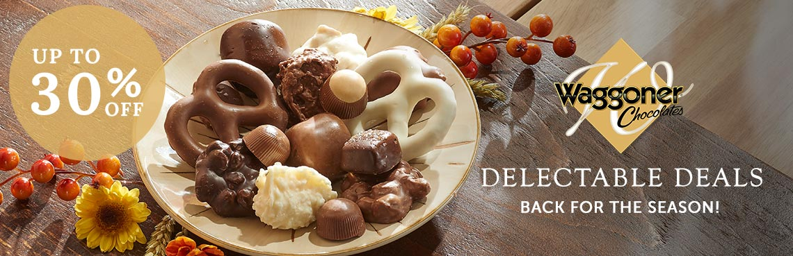 Waggoner Chocolates  Delectable Deals Up to 30% Off  Back for the Season! 495-737 Waggoners Chocolates Assorted Wrapped Chocolates 5lbs. wgift boxes