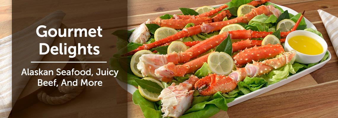Gourmet Delights Alaskan Seafood, Juicy Beef, And More 491-595 SeaBear Choice of Alaskan Golden King Crab Legs & Claws