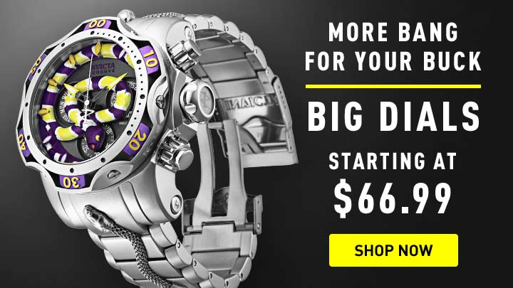 Big Dials - 674-044 Invicta Reserve Men's 52mm King Venom Swiss Quartz Chronograph Bracelet Watch