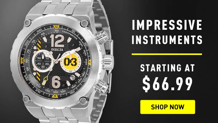 Impressive Instruments - Starting at $69.99 - 678-104 Invicta 50mm Aviator Quartz Chronograph Bracelet Watch w 3-Slot Dive Case
