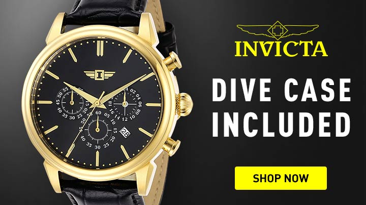 Dive Case Included - 663-998 I by Invicta Men's 44mm Quartz Chronograph Strap Watch w 3-Slot Dive Case