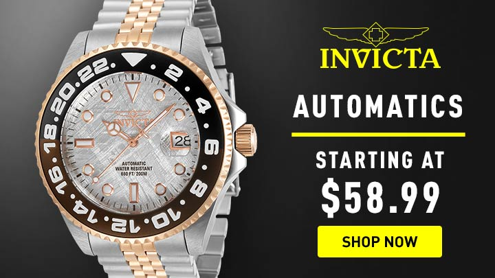 Automatics Starting Under $58.99 - 673-634 Invicta 45mm Pro Diver Soda Automatic Meteorite Dial Bracelet Watch