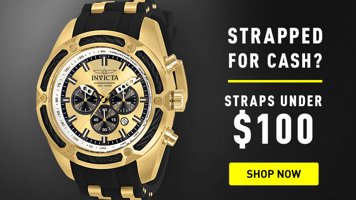 Straps Under $100 - 673-884 Invicta Men's 52mm Bolt Hybrid Quartz Chronograph Strap Watch w 1-Slot Dive Case