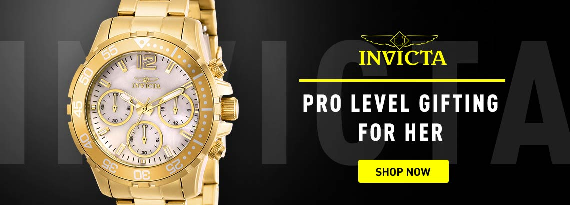 Invicta Pro Level Gifting for Her - 665-922 Invicta Women's Pro Diver Quartz Chronograph Mother-of-Pearl Dial Stainless Steel Bracelet Watch