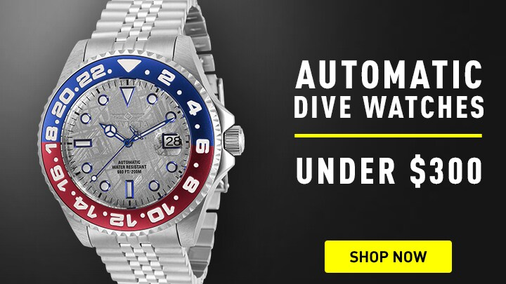 Automatic Dive Watches Under $300 at ShopHQ 673-634 Invicta 45mm Pro Diver Soda Automatic Meteorite Dial Bracelet Watch