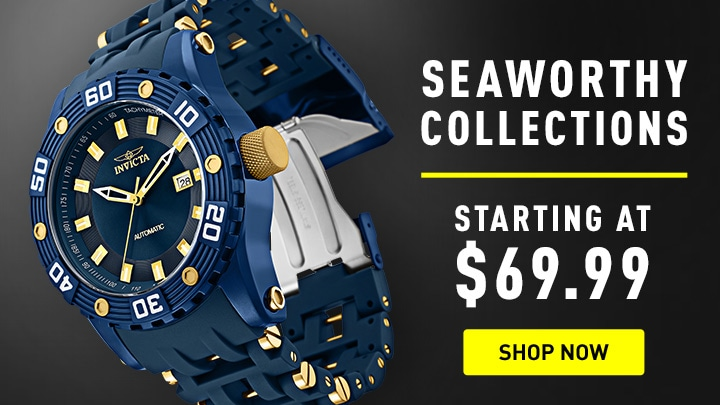 Seaworthy Collection Starting at $69.99 at ShopHQ 674-060 Invicta Men's 50mm Sea Spider Automatic Polyurethane Bracelet Watch