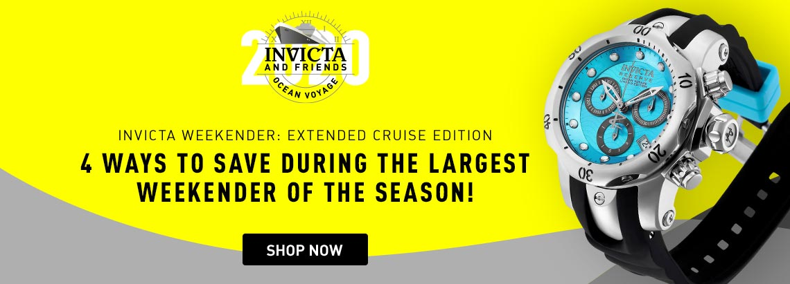 Invicta Weekender: Extended Cruise Edition, 4 ways to save during the largest weekender of the season! 669-310 Invicta Reserve 52mm or 42mm Ocean Voyage Venom Limited Edition Swiss Quartz Chronograph Strap Watch