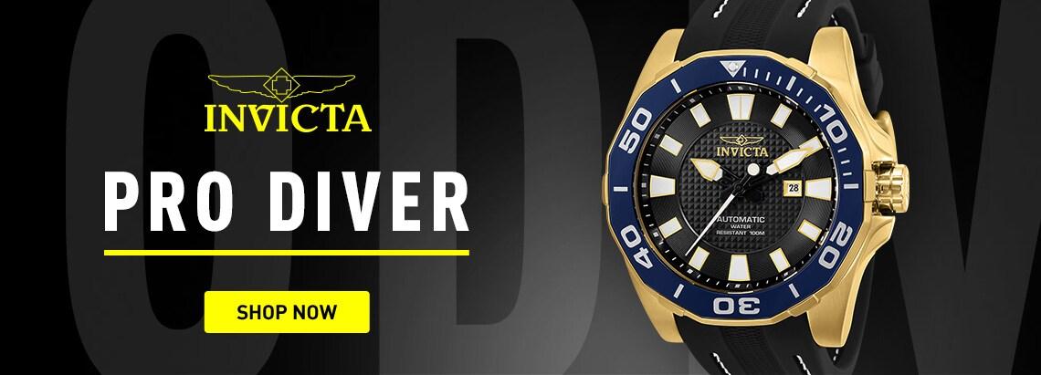 Invicta PRO DIVER at ShopHQ 678-841 Invicta Men's 52mm Pro Diver Limited Edition Automatic Silicone Strap Watch w Flask Set