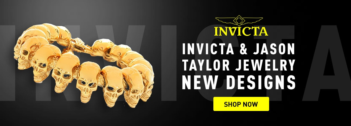 Invicta & Jason Taylor Jewelry at ShopHQ 185-774 Invicta Jewelry Men's Stainless Steel Polished Skull Link Bracelet
