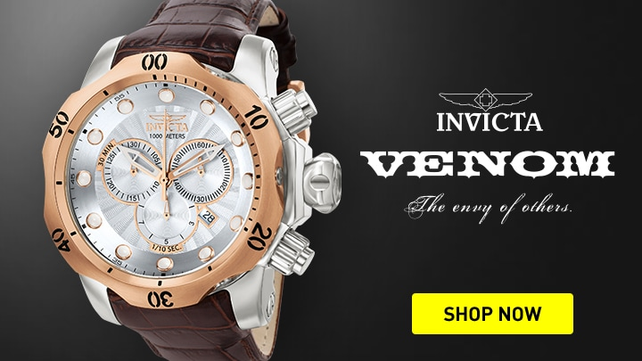 676-544 Invicta Reserve Men's 52mm Venom Elegant Swiss Quartz Chronograph Leather Strap Watch