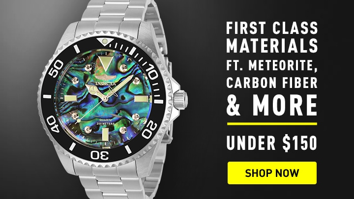 First Class Materials ft. Meteorite, Carbon Fiber & more under $150 676-841 Invicta 38mm or 47mm Pro Diver Quartz Diamond Acctd Abalone Dial Bracelet Watch.