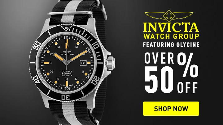 Invicta Watch Group Featuring Glycine Over 50% off670-444 Glycine Men's 48mm Combat Sub Swiss Made Automatic Date Black & White Nylon Strap Watch
